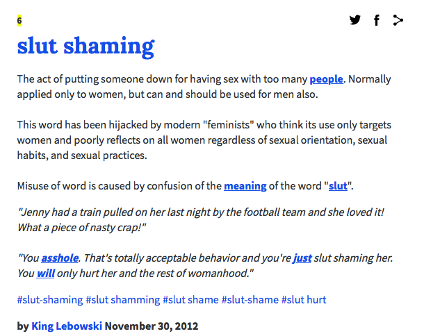 slut shaming urban dictionary definition